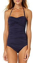 Anne Cole Color Blast Solid Bandeau Twist Front Shirred One-Piece