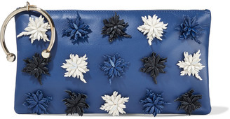 Red(V) Floral-appliqued Leather Pouch