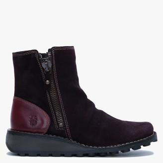 Fly London Monty Purple Suede & Leather Side Zip Wedge Boots