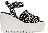 Opening Ceremony Luna printed coated-suede wedge sandals