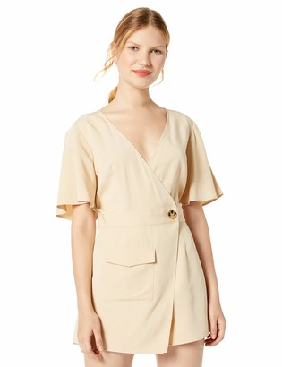 The Fifth Label Women's Pastime Flutter Sleeve Wrap Front Romper Playsuit