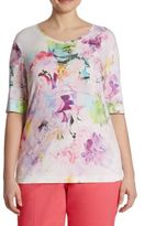 Basler, Plus Size Elbow Sleeve Floral Jersey Print Tee