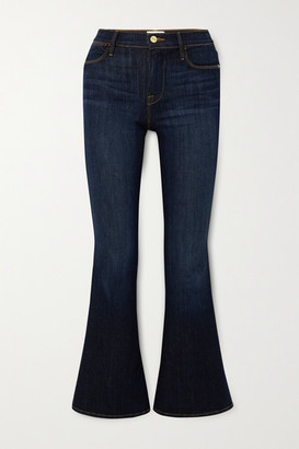 Frame Le Pixie Cropped High-rise Flared Jeans - Dark denim