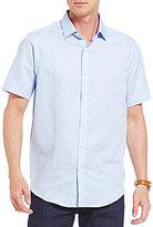 Hart Schaffner Marx Slub Dobby Dot Short-Sleeve Woven Linen Blend Shirt