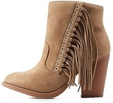 Charlotte Russe Fringed Stacked Heel Round Toe Boots
