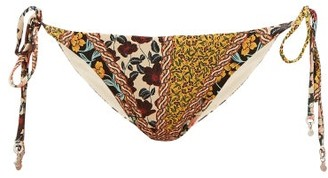 The Upside Alba Poppy-print Bikini Briefs - Green Multi