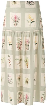 Adriana Degreas Printed Midi Skirt