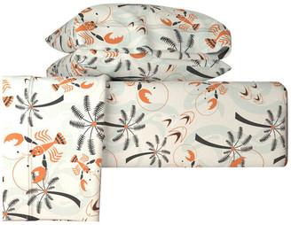 Roostery Retro Hawaiian Lobsters 50S Style Tropical 4-Piece Cotton Sheet Set Ki