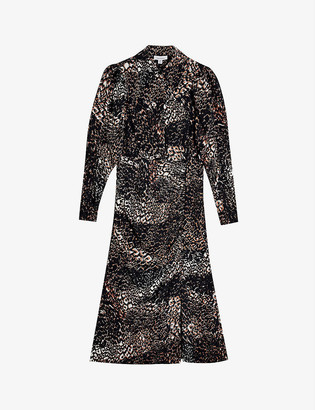Topshop Animal-print woven midi shirt dress