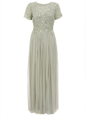 Dorothy Perkins Womens Quiz Sage Embellished Maxi Dress