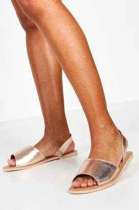 boohoo Wide Fit 2 Part Metallic Leather Sandals