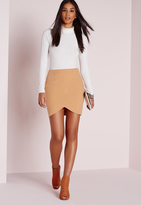 Missguided Curve Hem Mini Skirt Camel