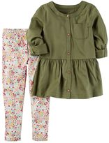 Carter's Toddler Girl Olive Peplum Tunic & Floral Leggings Set