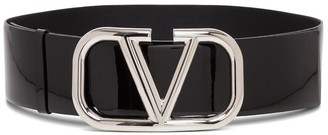 Valentino V Logo Patent Leather Belt