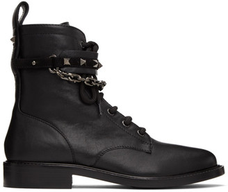 Valentino Black Garavani Chain Rockstud Lace-Up Boots