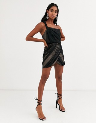 Asos Design DESIGN one shoulder mini dress in soft ruched chiffon with corset bodice