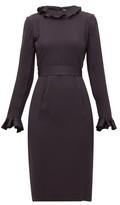 Goat Jorja Ruffle-trim Crepe Dress - Womens - Navy