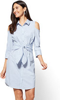 New York & Co. Cold-Shoulder Poplin Dress - Stripe