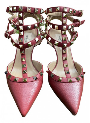 Valentino Rockstud Spike Burgundy Leather Heels