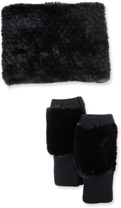 Jocelyn Faux-Fur Cowl & Mittens Gift Set, Black