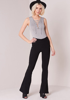 Missy Empire Ann Marie Black High Waisted Flared Trousers