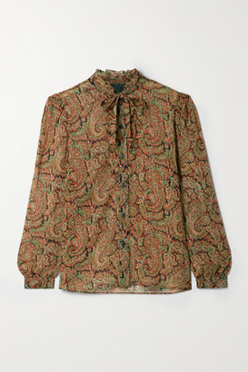 Nili Lotan Miera Pussy-bow Ruffled Paisley-print Silk-chiffon Shirt - Black