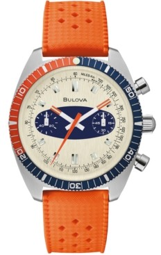 Bulova Men's Chronograph Archive Surfboard Orange Silicone Strap Watch 40.5mm