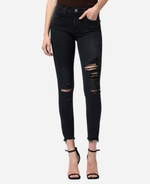 Flying Monkey Mid Rise Distressed Raw Hem Skinny Crop Jeans