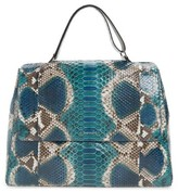 Orciani Large Naponos Genuine Python Tote - Blue