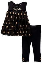 Juicy Couture Glitter Dot Mesh Tunic & Legging Set (Baby Girls 0-9M)
