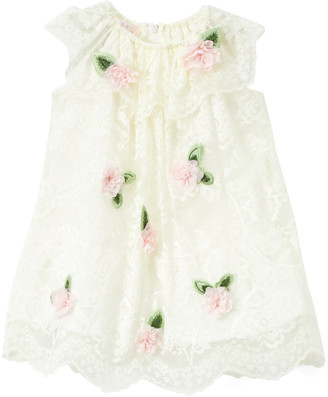 Biscotti Girls' Special Occasion Dresses IVORY - Ivory Floral-Accent Ruffle-Collar Dress - Infant & Toddler
