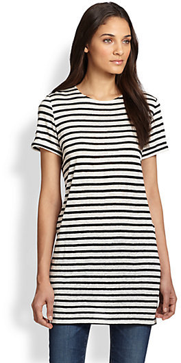 Alice + Olivia Striped Linen-Blend Jersey Tunic