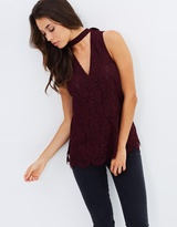 Lace Collar V-Neck Tunic