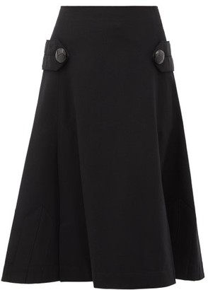 Loewe Pleated A-line Wool Skirt - Black