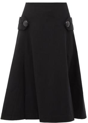 Loewe Pleated A-line Wool Skirt - Womens - Black