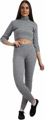 MIXLOT New Ladies Womens Sexy Co-Ord Knitted Suit Ladies Polo Neck Crop Top Ladies Leggings Tracksuit Set (Silver 12-14)