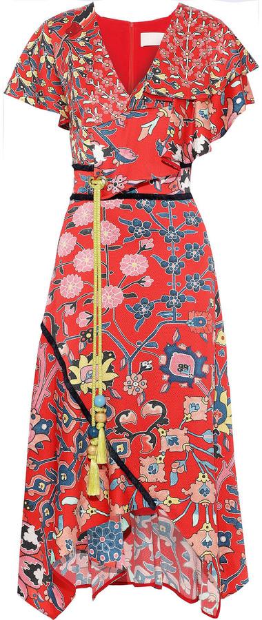 Peter Pilotto Asymmetric Ruffled Floral-print Hammered Stretch-silk Midi Dress