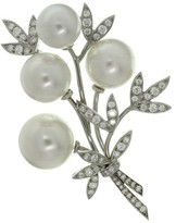 Tiffany & Co. 950 Platinum Diamond South Sea Pearl Floral Brooch