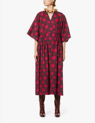 Dries Van Noten Graphic-print cotton midi dress