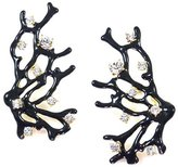 Kenneth Jay Lane Antique Crystal & Black Coral Branch Clip On Earrings