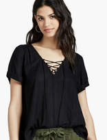 Lucky Brand Dobby Lace Up Top