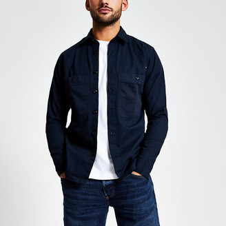 River Island Selected Homme navy pocket front shirt