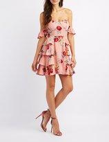 Charlotte Russe Floral Off-The-Shoulder Bustier Dress
