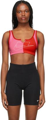 Nike Pink and Red Sportswear Sports Bra