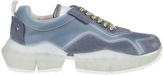 Jimmy Choo Light Blue Leather Diamond Sneakers