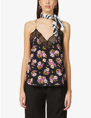 Zadig & Voltaire Lace-trimmed floral silk-crepe camisole