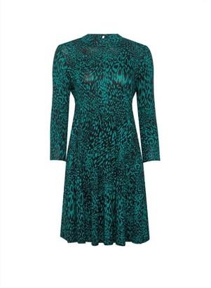 Dorothy Perkins Womens Dp Petite Green Animal Print Dress, Green