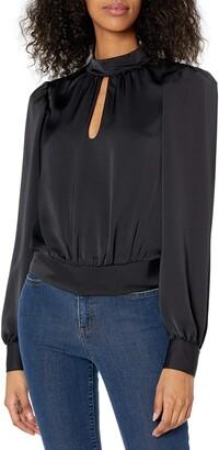 Ramy Brook Women's Angela Satin Key Hole Long Sleeve Top