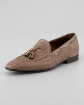 HUGO BOSS Crocodile-Embossed Suede Loafer, Light Brown