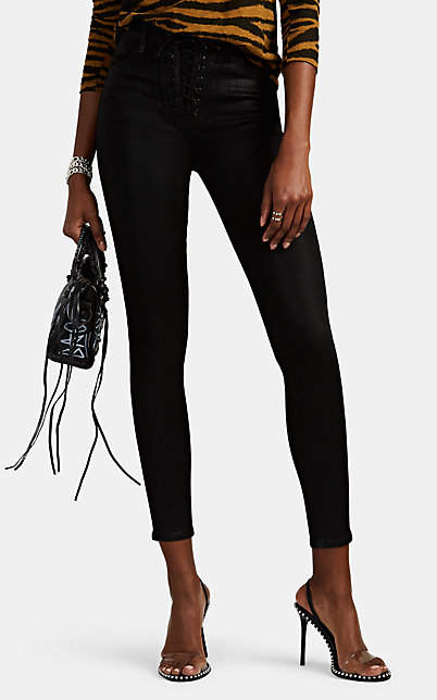 J Brand Women's High-Rise Lace-Up Skinny Jeans - Black